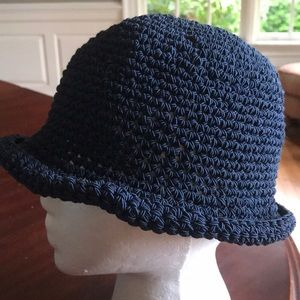 Navy blue womens crochet bucket hat
